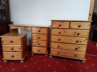 Set of pine bedroom furniture