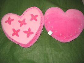 Two Pink Heart Shaped Cushions - the two for £6.00