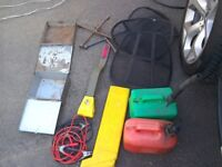 Jump leads stop lock warning triangle petrol cans wheel braces and other bits