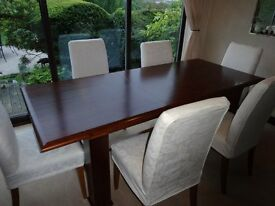 Dark wood dining table, 6 chairs, side board unit and dresser