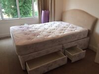 4 Drawer Double Divan Bedset with Mattress and Headboard---ONLY £65