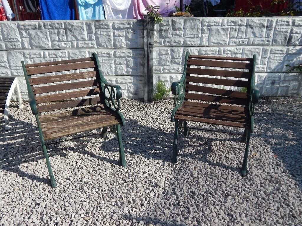 Cast Iron Garden Chairs Bench Ends Patio Furniture Vintage Outdoor