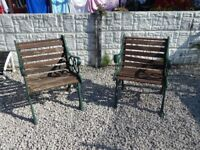Cast iron garden chairs / Bench ends / Patio Furniture / Vintage garden / Outdoor furniture / cast