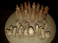 Vintage African Stone Chess set and Stone board