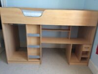 Lovely child's cabin bed - sturdy and clean with plenty of storage