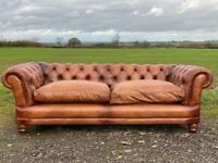 Beautiful Chesterfield Tetrad 3-4 seater Brown Leather Sofa
