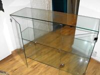 glass display cabinet with two lockable doors very good condition.