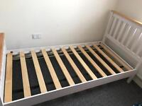 single bed frame oak and white wood