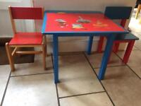 Hand painted Australian animal child's playroom table with 2 wooden chairs