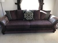 Brown sofa large 4 seater and extra large cuddle sofa