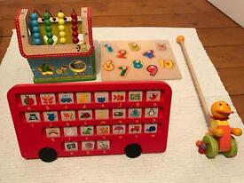 Traditional baby toddler wooden toys ELC alphabet bus, pushalong duck, shape sorter