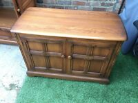 Vintage TV stand also drawer. Can be use as storage cupboard/ chest. Hard wood natural colour