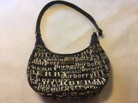 Vintage Very Rare Design Mini Burberry Handbag Canvas Cotton & Leather