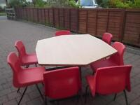 table and 7 childrens chairs reasonable condition as per photos