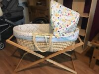 Moses basket and stand (unisex mothercare)