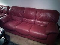 Good quality red leather 3 piece suite with 3 seater, 2 seater and an armchair
