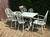 Stunning Shabby Chic Painted Farmhouse Dining Table & 6 Chairs