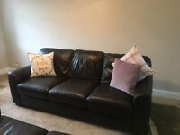 JOHN LEWIS brown leather 3+2 seater sete. Excellent condition. pet/smoke free home