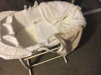 Lovely rocking Moses basket with fitted sheets