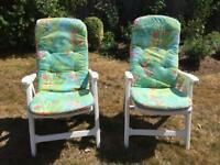 2 White Plastic Garden Reclining chairs with cushions - Excellent condition