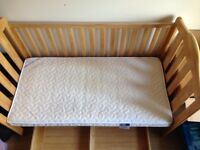 "Urgently and cheap! Almost brand new! Solid oak cot-bed-bedside bed set, ""Mamas & Papas"""