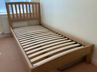Oak frame bed with mattress