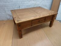 Mexican Pine Coffee Table With 1 Drawer Delivery Available