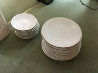 White dinner plates and smaller plates