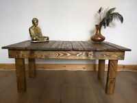 Rustic Industrial Coffee Table Handmade From Reclaimed Wood