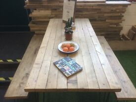 Industrial Reclaimed Rustic Kitchen/Dining table with Hairpin legs & Benches