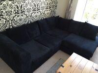 Black Four Seater Corduroy Corner Sofa Like New 6 Months Old