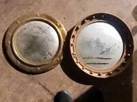 2 old brass mirrors