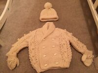 Baby boys knitted cardigan and hat