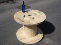 Wooden Reclaimed Industrial Cable Reel/Drum,Table, 80 cm x 64 cm Upcycled/Craft project.