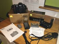 Nikon D80 Digital Camera with LOW SHUTTER COUNT + Nikon MB-D10 battery grip + more!
