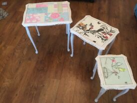 Shabby chic nest of tables.