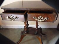 MAHOGANY ORNATE OCCASIONAL TABLE, WITH DRAWERS, BRASS FEET BARGAIN £20,,,