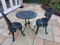 CAST ALUMINIUM GARDEN TABLE & 2 CHAIRS