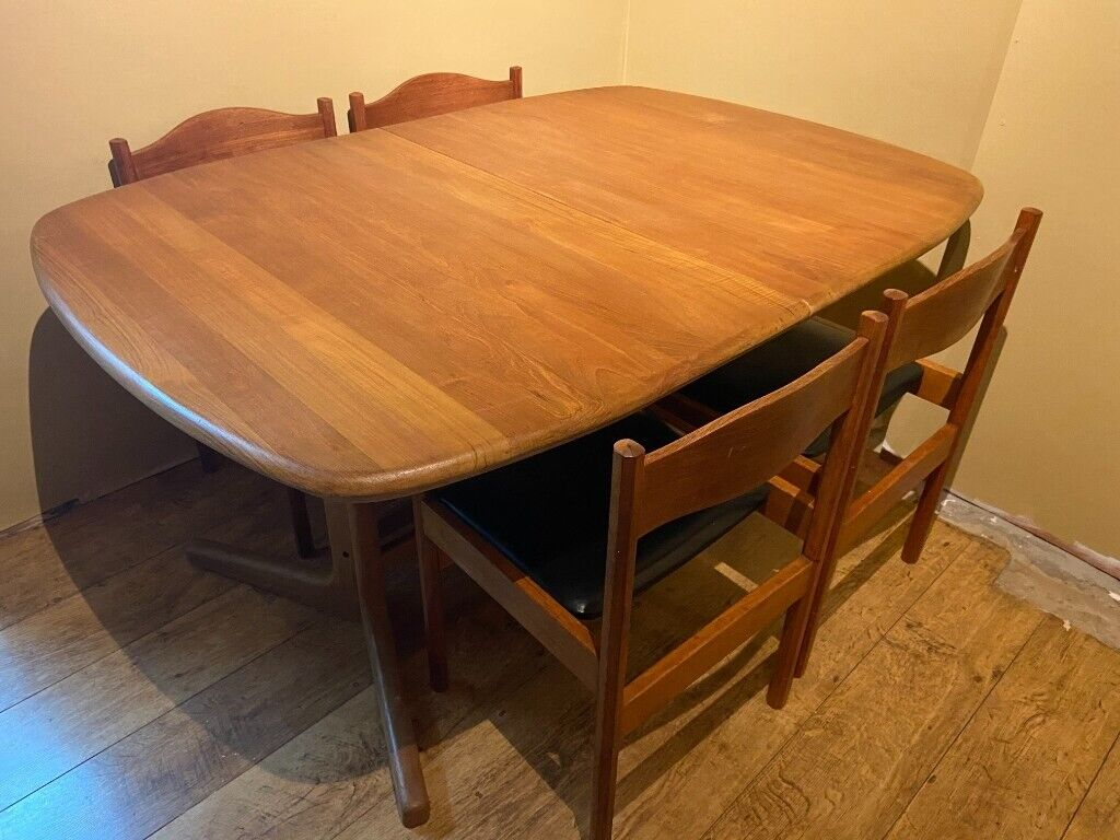 D Scan Danish Design Teak Dining Table Whale Tail Legs Plus Mcm Chairs Mid Century Furniture In Abingdon Oxfordshire Gumtree