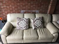 3 seater and single seat - cream leather sofas in very good condition