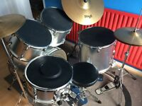 Pick up only! £250 ONO Full silver/black drum set with cymbals and books/CDs