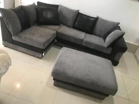 Ex Display Black Leather and Grey Fabric Corner Sofa+Footstool