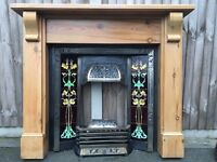 Galway cast iron inset surround with tiles & victorian high leg gas fire & pine surround
