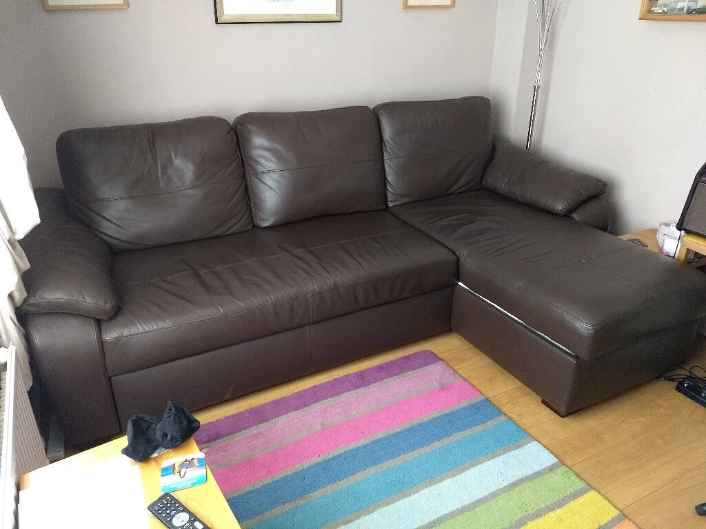 Sofa Bed Dark Brown Leather Corner Unit Converts From