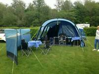 Kampa Studland 8 man tent. 3 end bedrooms with optional 4th bedroom that can be removed.