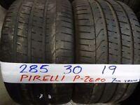 MATCHING PAIR 285 30 19 PIRELLIS P-ZEROS 7MM TREAD £90 PAIR SUPP & FITD (loads more av} TXT S