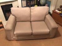 2 seater sofa - pale neutral fabric