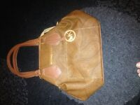 Tan colour handbag with shoulder strap