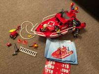 Playmobile Fire and rescue emergency boat with water pump.