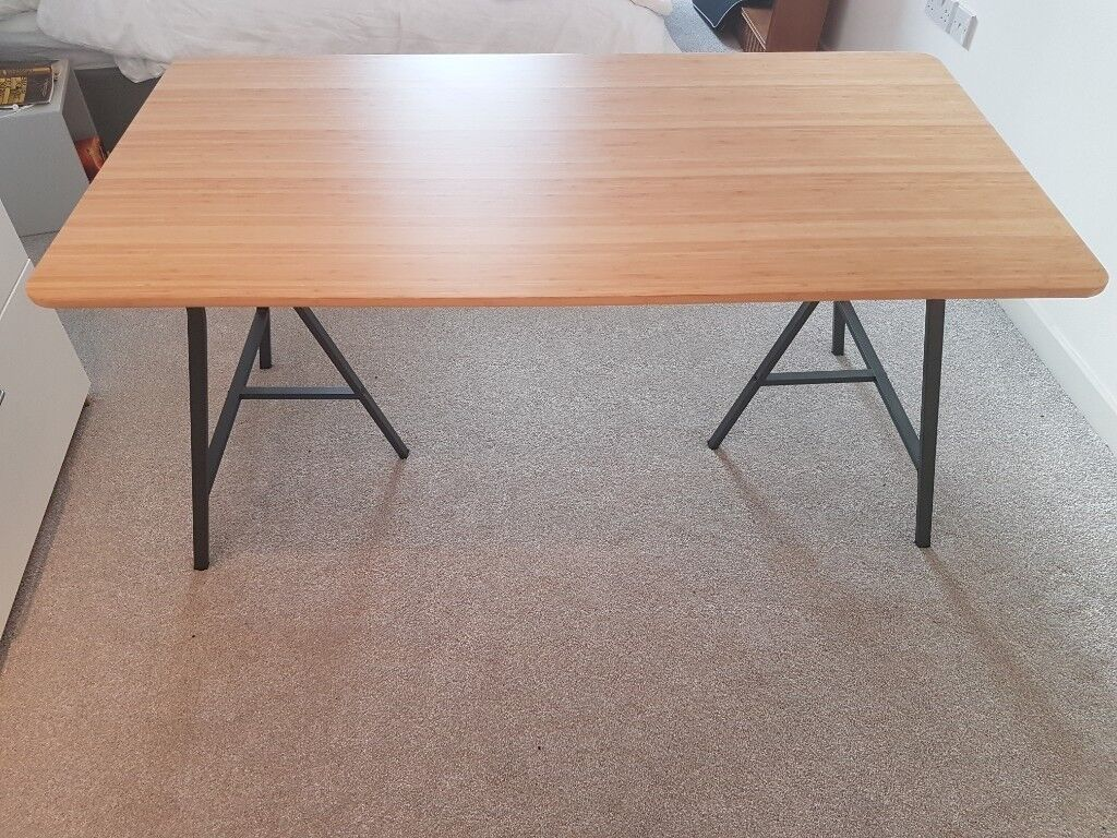 Pleasing Beautiful Bamboo Table Top Never Used Smart Trestle Legs Dining Table Or Office Desk In Mile End London Gumtree Download Free Architecture Designs Scobabritishbridgeorg